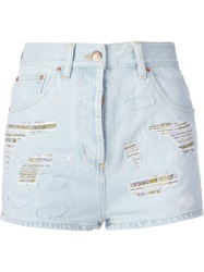 Roberto Cavalli Ripped Cut Off Shorts Blue