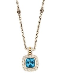 Lagos Prism Blue Topaz And Diamond Pendant Necklace