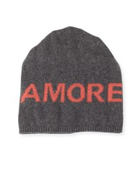 Portolano Boyfriend Amore Cashmere Knit Beanie Hat Gray Orange