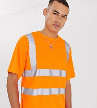 Reclaimed Vintage Fluorescent T Shirt With Reflective Tape Orange