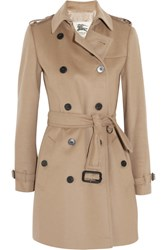 Burberry Mid Length Wool And Cashmere Blend Trench Coat Camel