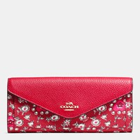 Coach Soft Wallet In Wild Hearts Print Coated Canvas Light Gold Wild Hearts Red Multi