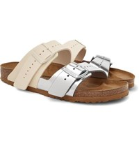 Rick Owens Birkenstock Arizona Two Tone Leather Sandals Off White