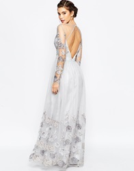 Chi Chi London Open Back Maxi Dress With Floral Embroidery Silvergreyfloral