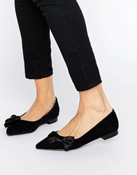 Asos Louise Pointed Bow Ballet Flats Black