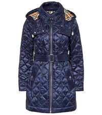 Burberry Baughton Quilted Coat Blue