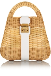 Mark Cross Manray Small Leather Trimmed Rattan Satchel