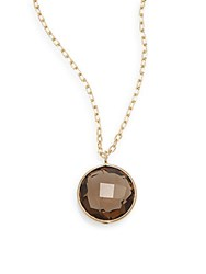 Saks Fifth Avenue Lollipop Smoky Topaz And 14K Yellow Gold Bezel Pendant Necklace
