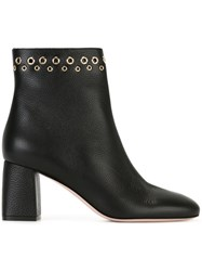 Red Valentino Eyelet Embellished Ankle Boots Black