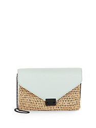 Loeffler Randall Leather And Straw Envelope Clutch Mint