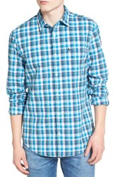 Original Penguin Men's Heritage Plaid Woven Shirt Diva Blue