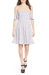Leith Women's Off The Shoulder Fit And Flare Dress White Romantic Geo