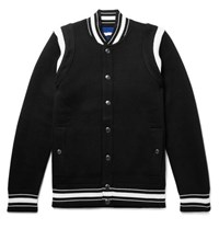 Givenchy Slim Fit Logo Embroidered Waffle Knit Virgin Wool Bomber Jacket Black