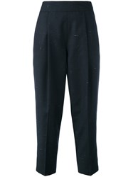 Diesel P Xety Cropped Trousers Women Cotton Linen Flax Polyester Wool 27 Blue