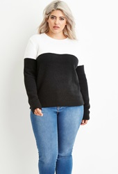 Forever 21 Colorblocked Fuzzy Sweater White Black