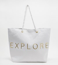 South Beach Exclusive Explore Tote Bag In White Canvas