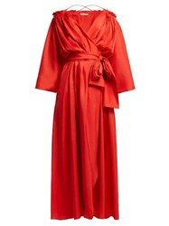Three Graces London Tessa Off The Shoulder Silk Wrap Dress Red