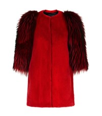 Lilly E Violetta Contrast Sleeve Fur Jacket Red