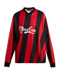 Martine Rose Long Sleeved Twisted Football Shirt Red Stripe