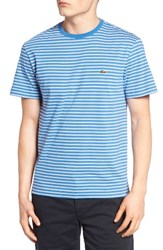 Lacoste Men's Striped T Shirt Thermal Blue White