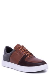 Robert Graham Chadwick Paisley Tooled Sneaker Brown Leather Suede