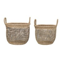 Bloomingville Woven Seagrass Baskets Natural Black Set Of 2