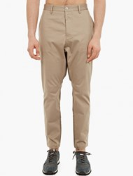 Oamc Natural Contrast Panel Cotton Trousers Brown