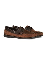 Sperry Top Sider Leather And Suede Boat Shoe Dark Brown