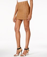 Guess Bel Basketweave Mini Skirt Harvest Grain