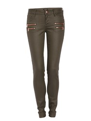 Morgan Slim Fit Jeans With Zipped Detailing Khaki