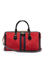 Gucci Ophidia Boston Suede Bowling Bag Black Red