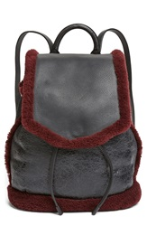 Rag And Bone 'Pilot' Genuine Shearling And Leather Backpack Black Bordeaux