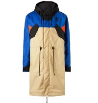 Loewe Eye Nature Fleece Lined Colour Block Nylon Parka Blue