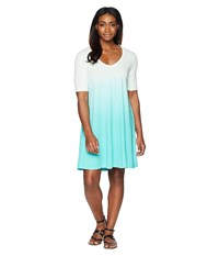 Life Is Good Swing Dress Cool Aqua Dip Dye Green