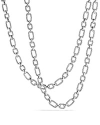 David Yurman Chain Cushion Link Necklace With Blue Sapphire In Sterling Silver Blue Silver