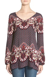 See You Monday Print Cold Shoulder Tunic Navy Red Print