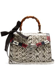 Gucci Lilith Medium Bamboo Handle Snakeskin Bag Grey
