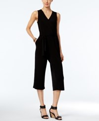 Ny Collection Petite Belted Cropped Jumpsuit Black