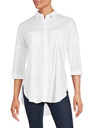 Saks Fifth Avenue Solid Cotton Blend Hi Lo Top White