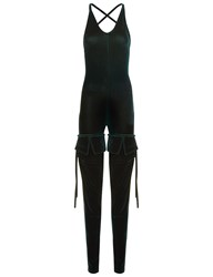 Y Project Bottle Green Velvet Ruched Leg Jumpsuit
