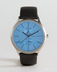 French Connection Tinted Glass Watch With Leather Strap Black