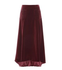 Carolina Herrera Mytheresa.Com Exclusive Velvet Skirt Red