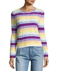 Marc Jacobs Striped Cashmere Cable Crewneck Sweater Purple Orange Yellow