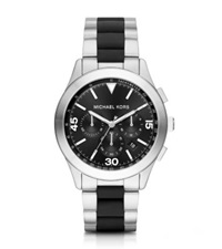 Michael Kors Gareth Silver Tone And Silicone Watch Two Tone
