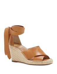 Vince Camuto Leddy Leather Espadrille Wedge Sandals Tan