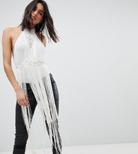 A Star Is Born Going Out High Neck Rope Detail Bodysuit With Fringing White