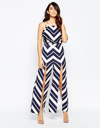 Finders Keepers Love Electric Trouser In Chevron Print Blue