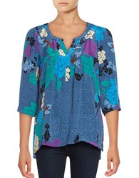 Plenty By Tracy Reese Three Quarter Sleeve Printed Blouse