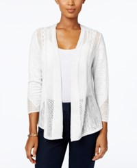 Charter Club Petite Pointelle Open Front Cardigan Only At Macy's Bright White
