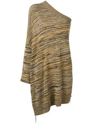 Erika Cavallini One Shoulder Knitted Top Brown